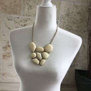 Gold Tone and Ivory Colored Statement Necklace